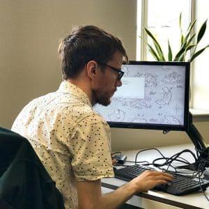 Advanced analytics - employee working on computer